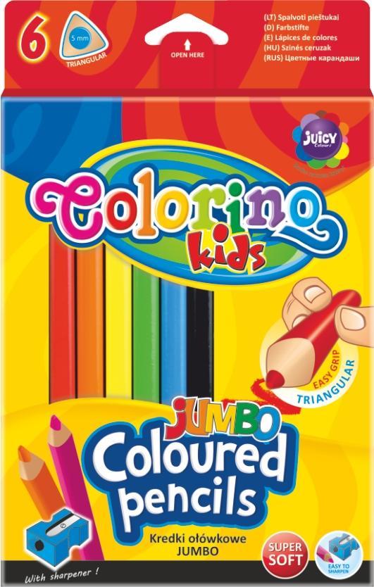 Pastelky trojhranné Colorino JUMBO 6 barev + ořezávátko