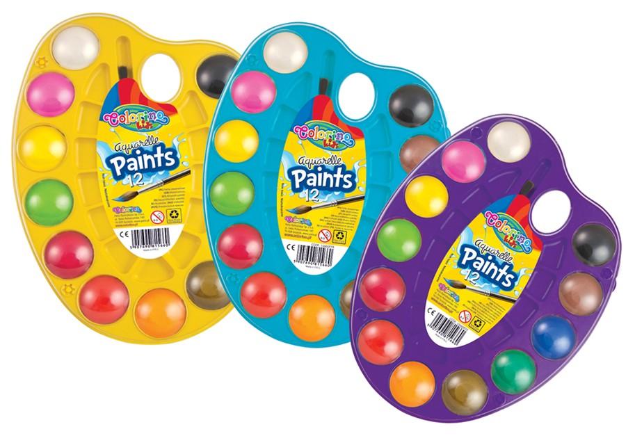 Barvy vodové Colorino na paletě 12 barev, štětec