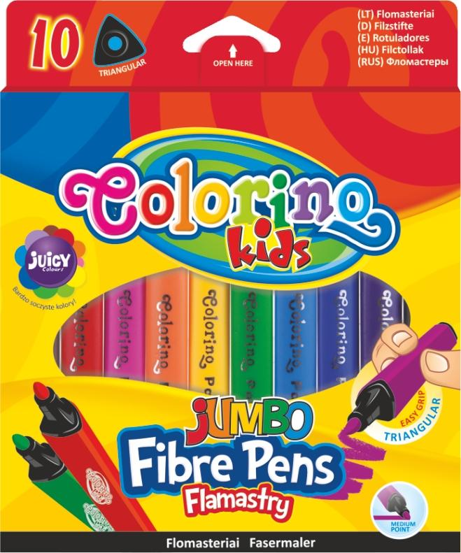 Popisovač JUMBO trojhranný 10 barev Colorino Kids