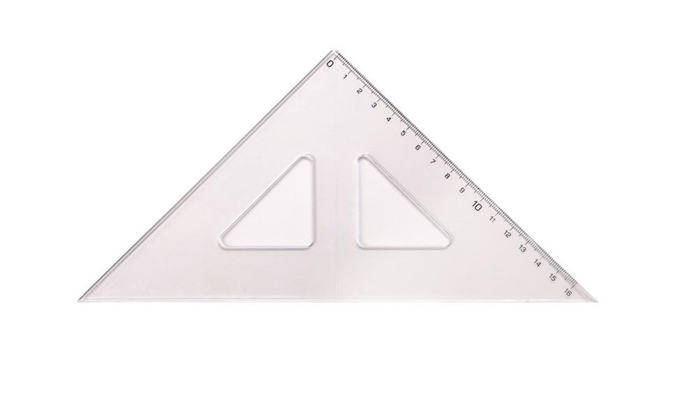 Trojúhelník 45/177 s kolmicí transparentní