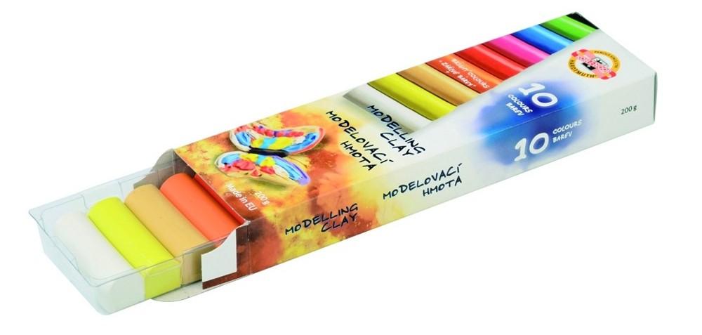Modelína KIN 10 barev v papírové krabičce - 200 g