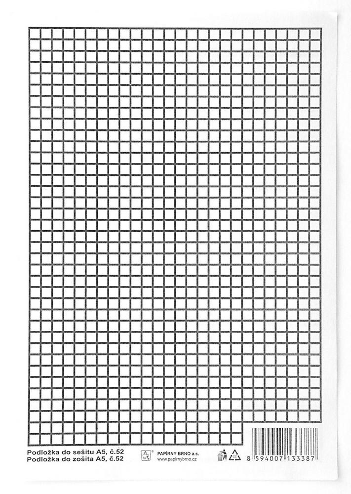 Podložka psací A5 papírová, linka - čtvereček
