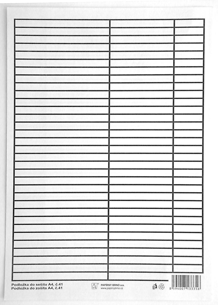 Podložka psací A4 papírová, linka - čtvereček