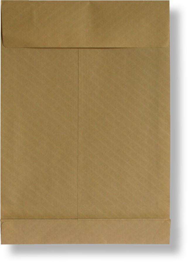 Poštovní taška s křížovým dnem B4 neroztrhnutelná, samolepicí s KP, 250 x 353