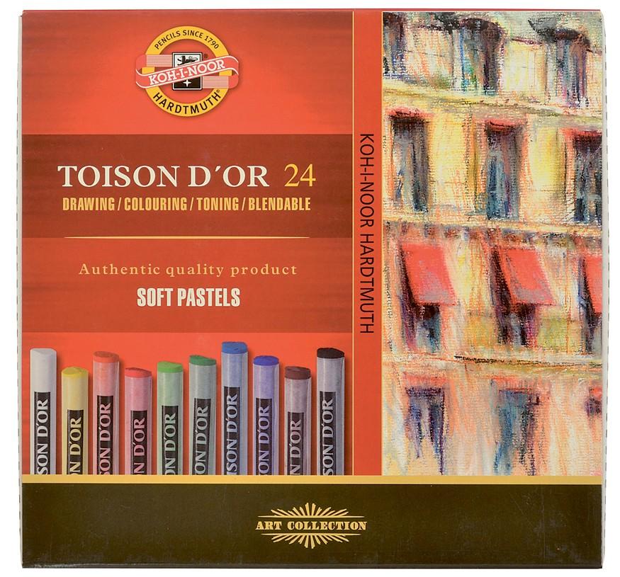 Křída suchá (prašná) umělecká kulatá 8514/24 Toison D'Or v papír. krabičce