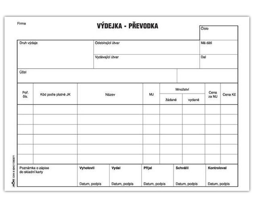 Výdejka - převodka A5, blok 100 L, samopropisovací