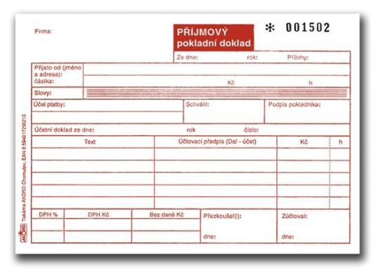 Příjmový pokladní doklad číslovaný, A6, blok 2x50 L, samopropisovací