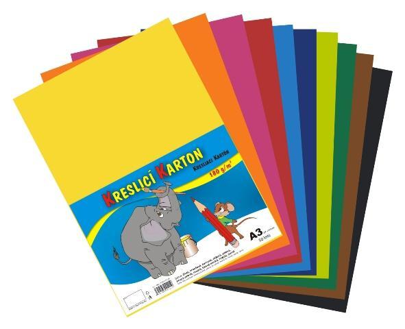 Karton kreslicí barevný mix A3 180g / 12x5 listů