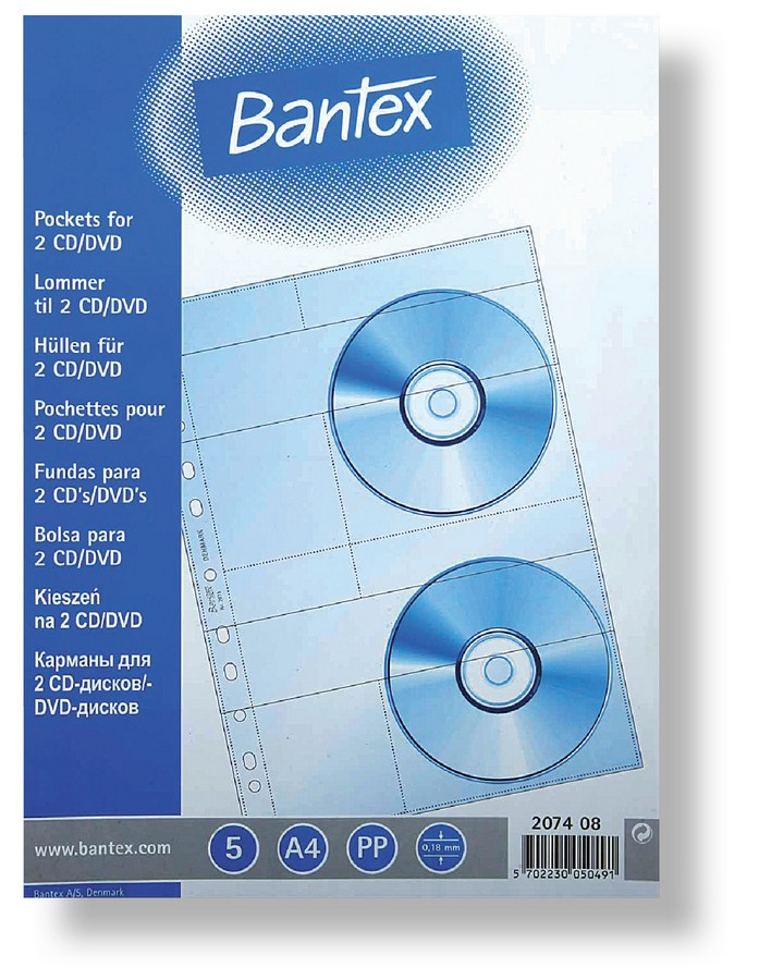 Obal závěsný na CD A4 180 mic čirý na 2 CD