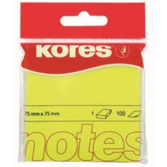 Blok samolepicí Kores 75 x 75 mm/100 žlutý neon