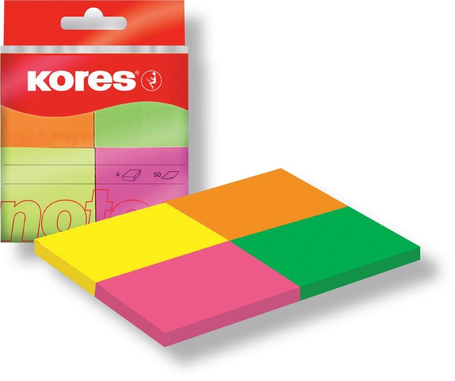 Kores notes bločky 40 x 50 mm/4 neonové barvy