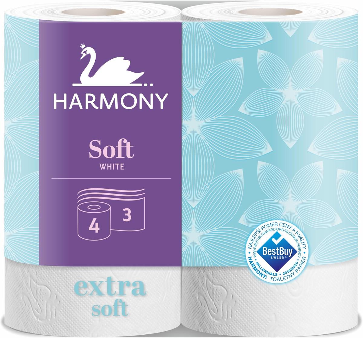 Papír toaletní Harmony Soft 160 útržků 3 vrstvý recykl bílý / 4 ks