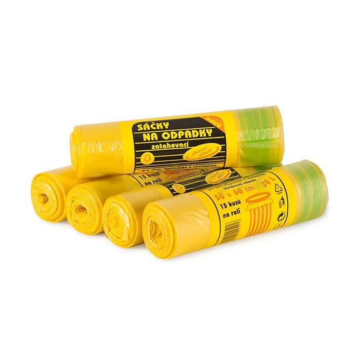 Pytel na odpadky se zatahováním 30 L / 15 ks (50 x 60cm) žluté