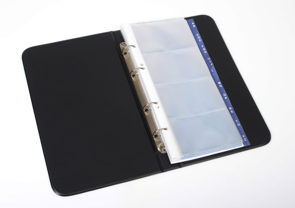 Vizitkář kroužkový A5/200 vizitek, plast, černý