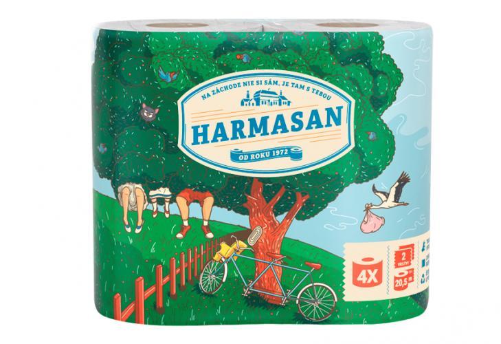 Papír toaletní Harmasan 200 útržků 2vrstvý recykl bílý / 4ks