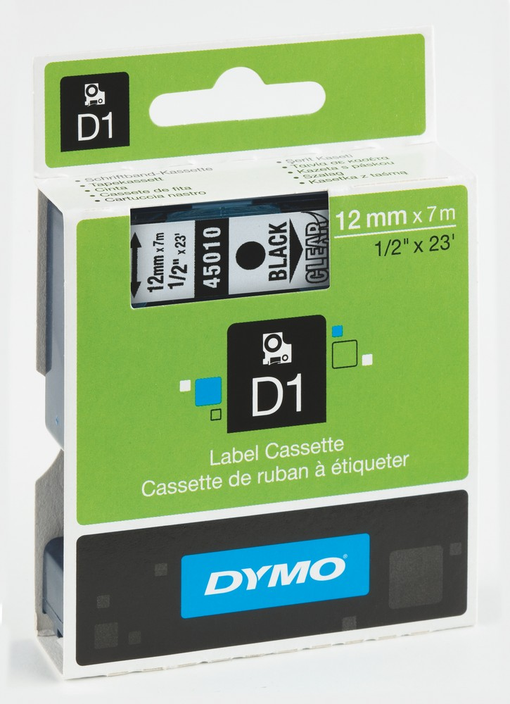 Páska DYMO D1 12mm/7m černá na čiré