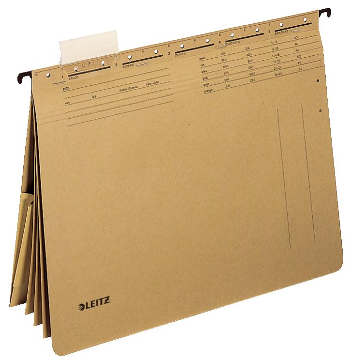 Závěsné desky Leitz ALPHA hnědé s rychlovazači a kapsou