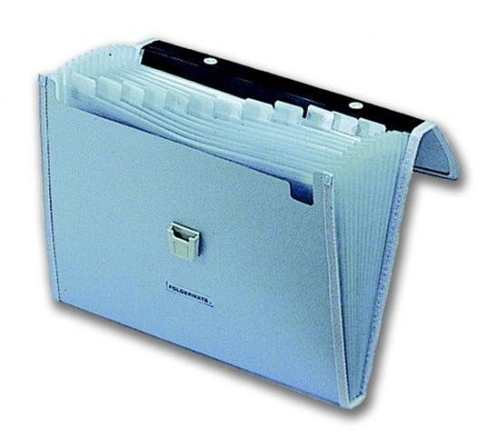 Kufřík A4 na dokumenty PP transp., 2 kapsy, zámeček -mix barev