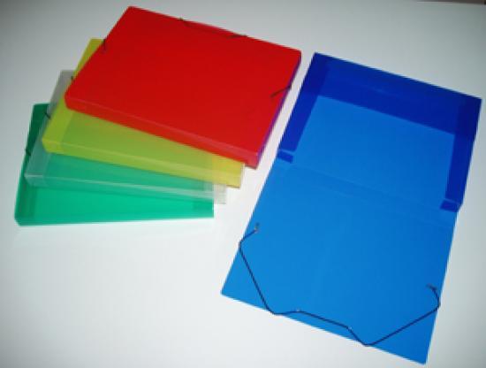 Box na spisy PP průhledný A4 modrý