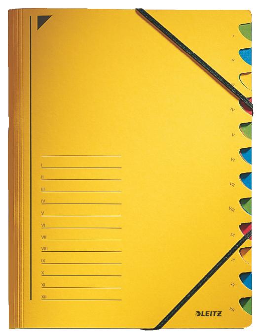Třídící desky s gumičkou Leitz A4, 12 listů, žluté