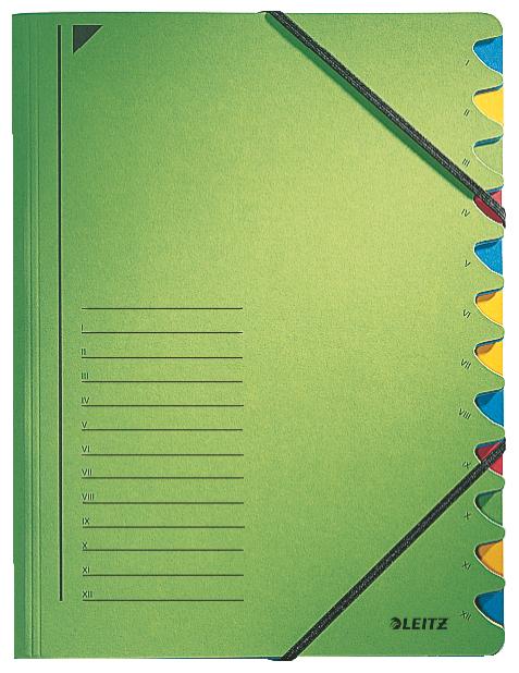 Třídící desky s gumičkou Leitz A4, 12 listů, zelené