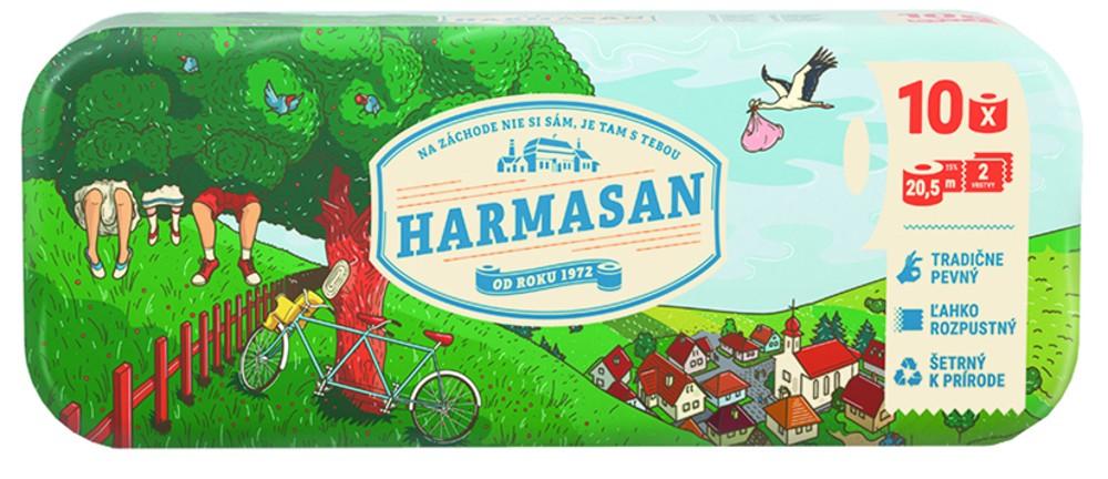 Papír toaletní Harmasan 200 útržků 2 vrstvý recykl bílý / 10ks