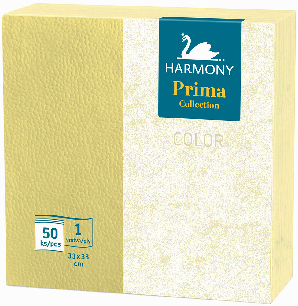 Ubrousky Harmony Color 33 x 33 žluté / 50 ls
