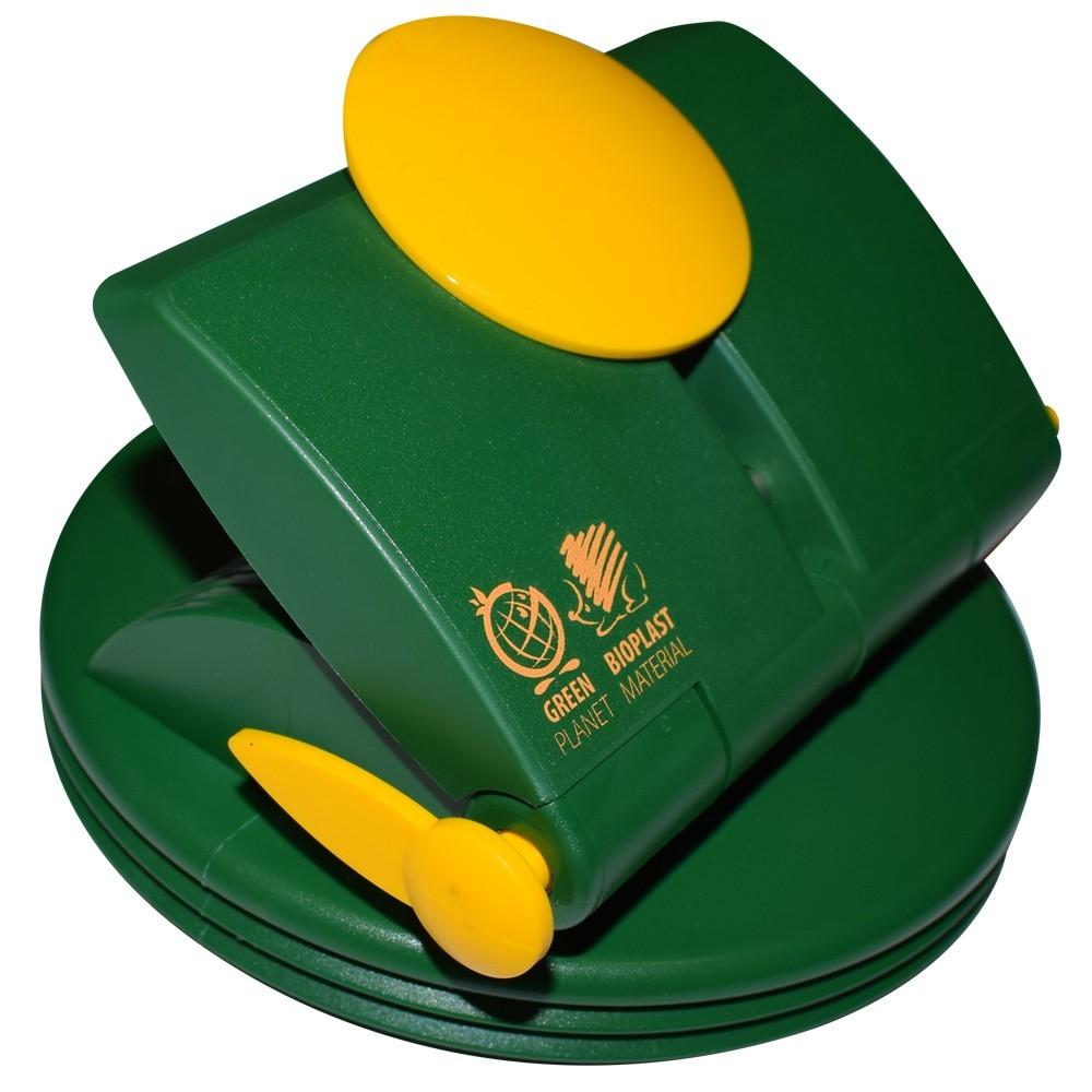 Děrovač z bioplastu, žluto-zelený