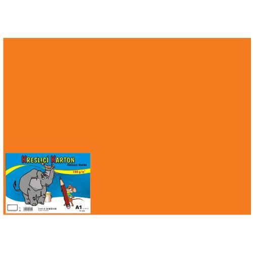 Karton kreslicí barevný A1 180g / 10l oranžový