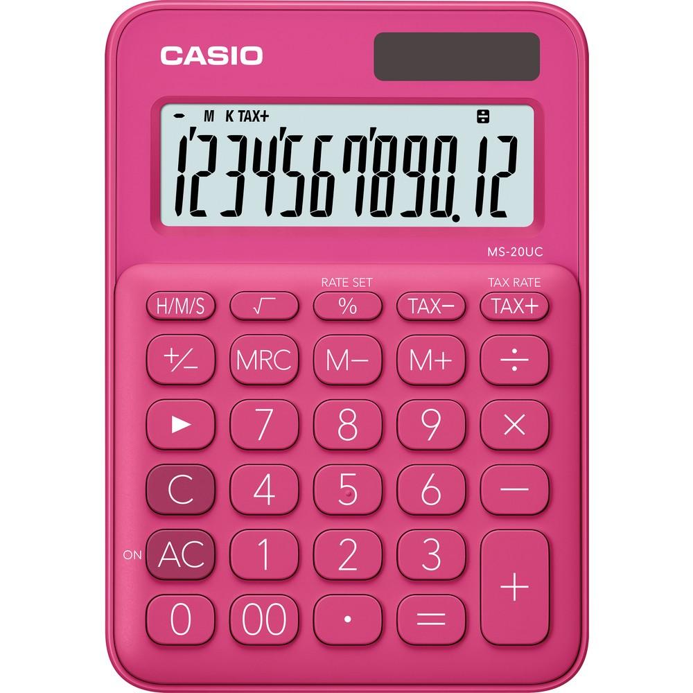 Kalkulačka Casio MS 20 UC/RD stolní / 12 míst červená