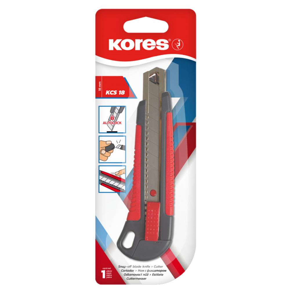 Nůž zalamovací s kovovou lištou velký (18mm) Kores
