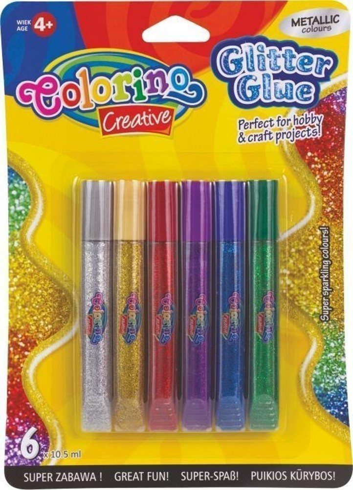 Lepidlo Colorino dekorační Glitter pero 6 barev